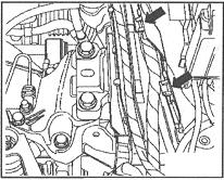 22 Отцепите от подрамника кронштейн электропроводки датчика уровня и температуры...  19.19 Крепеж электропроводки.